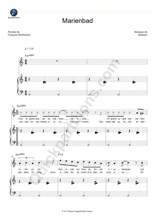 Partition piano Marienbad - Barbara