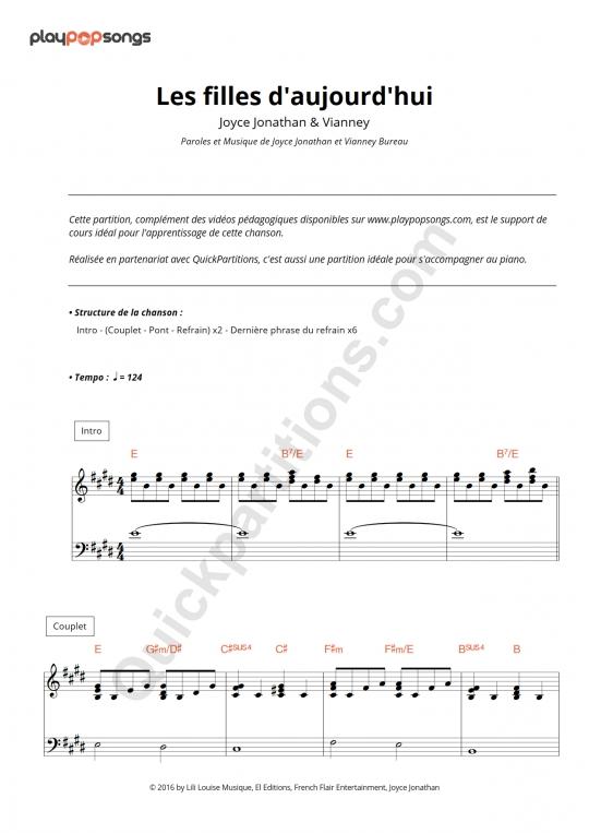 Les filles d'aujourd'hui Piano Sheet Music - PlayPopSongs