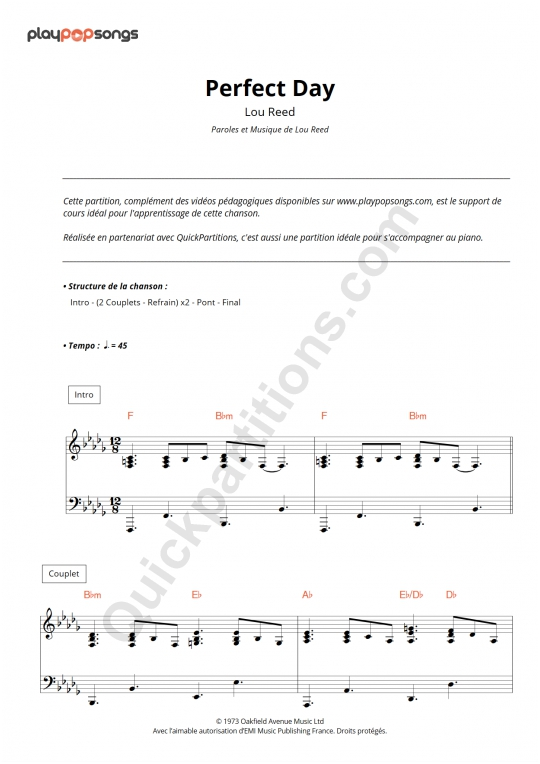 Perfect Day Piano Sheet Music - PlayPopSongs