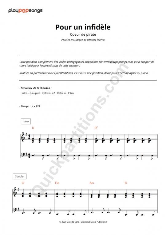 Partition piano Pour un infidèle - PlayPopSongs