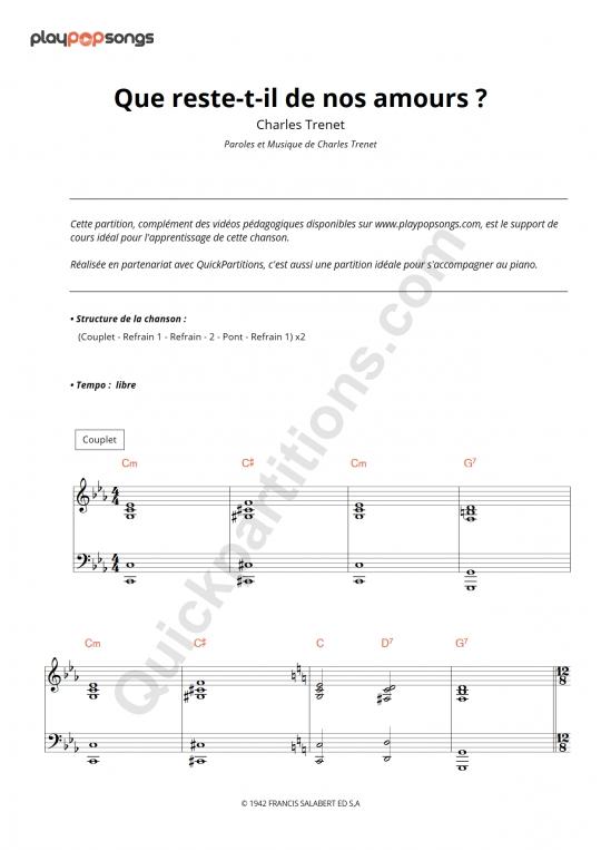 Partition piano Que reste-t-il de nos amours ? - PlayPopSongs