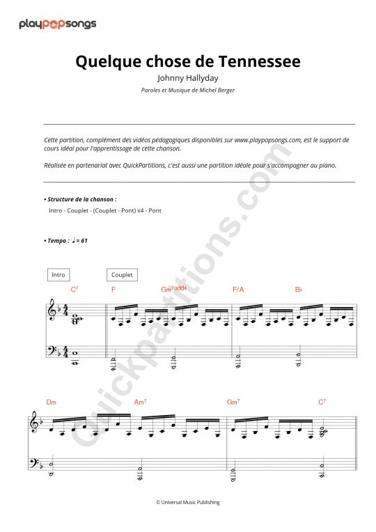 Partition piano Quelque chose de Tennessee - PlayPopSongs