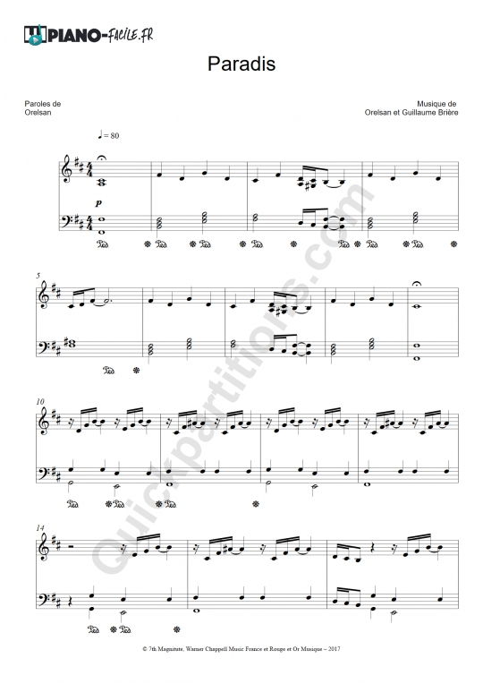 Partition piano Paradis - Piano-Facile