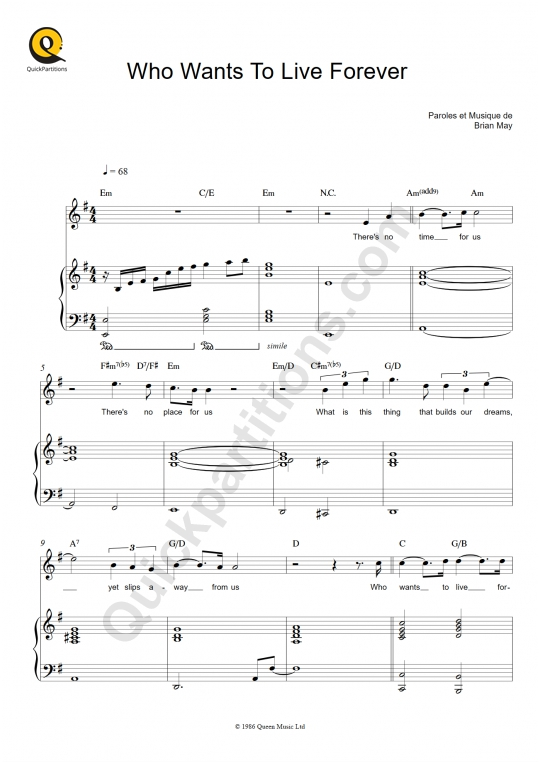 Who Wants To Live Forever  Piano Sheet Music - Queen