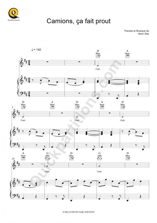 Partition piano Camions, ça fait prout - Henri Dès