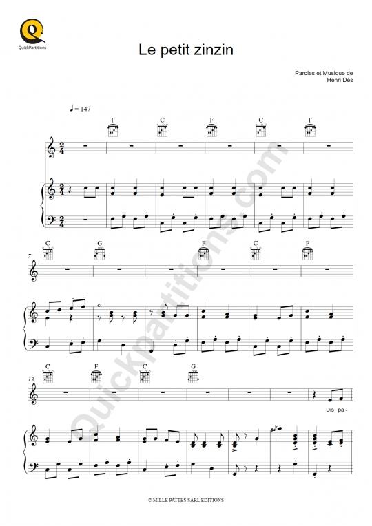 Partition piano Le petit zinzin - Henri Dès