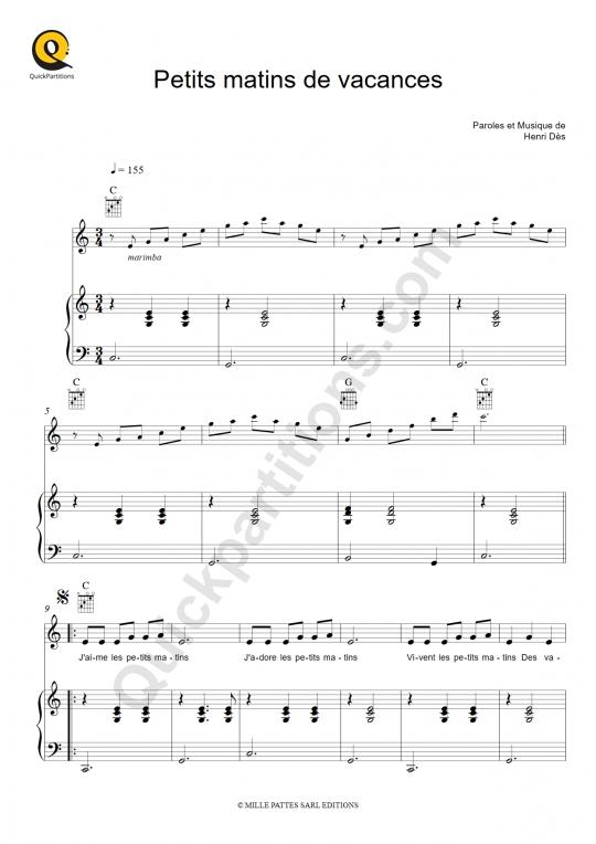 Partition piano Petits matins de vacances - Henri Dès