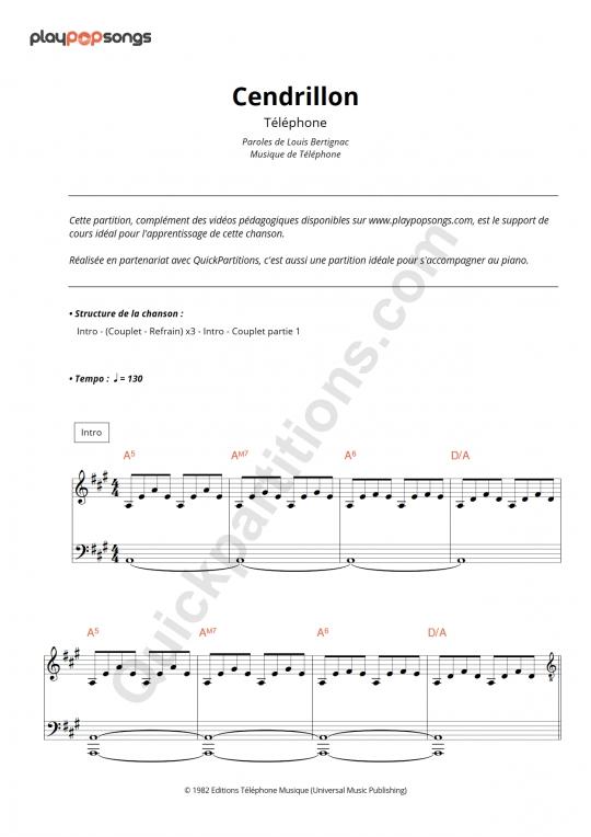 Partition piano Cendrillon - PlayPopSongs