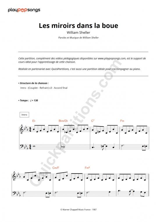 Les miroirs dans la boue Piano Sheet Music - PlayPopSongs