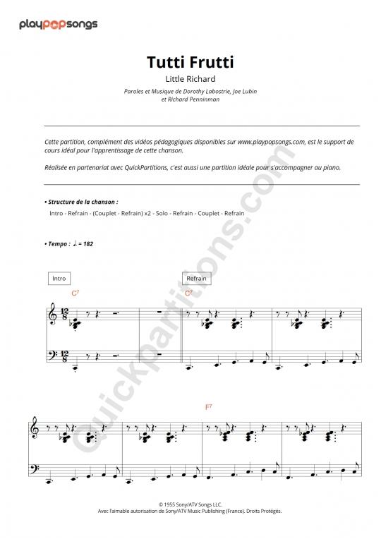 Partition piano Tutti Frutti - PlayPopSongs