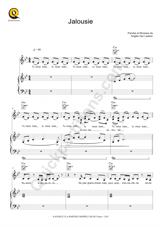 Jalousie Piano Sheet Music - Angèle