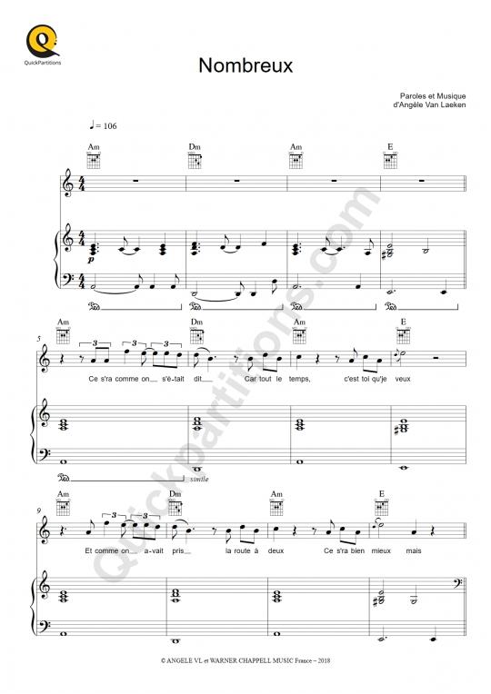 Partition piano Nombreux - Angèle
