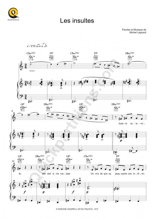 Partition piano Les insultes - Peau d'Ane