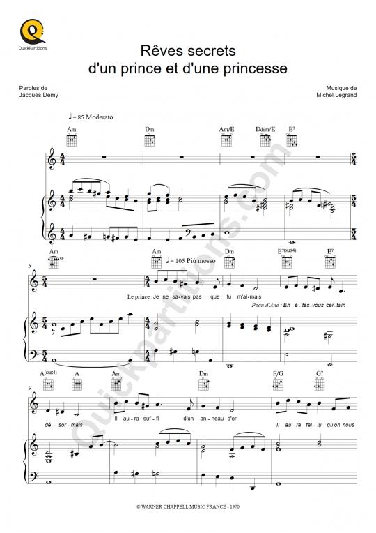 Partition piano Rêves secrets d'un prince et d'une princesse - Peau d'Ane