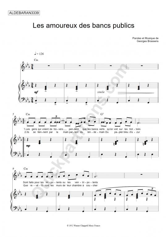 Partition piano Les amoureux des bancs publics - Aldebaran3339