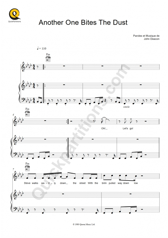 Another One Bites The Dust  Piano Sheet Music - Queen