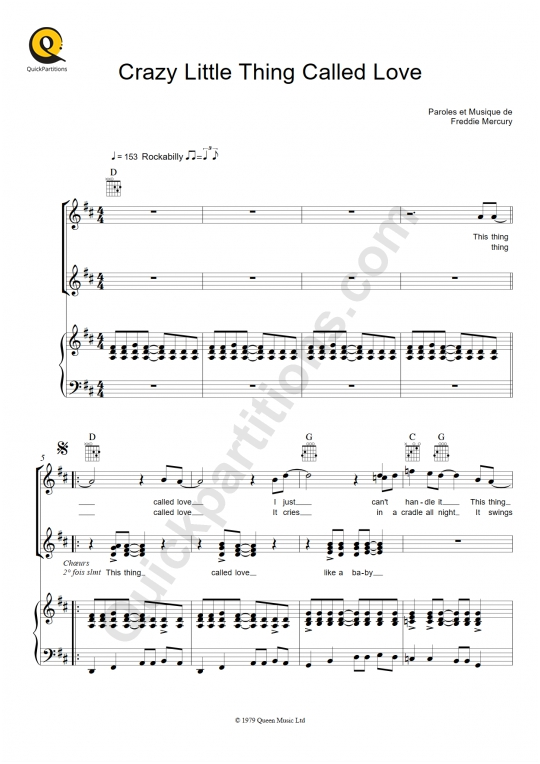 Crazy Little Thing Called Love Piano Sheet Music - Queen