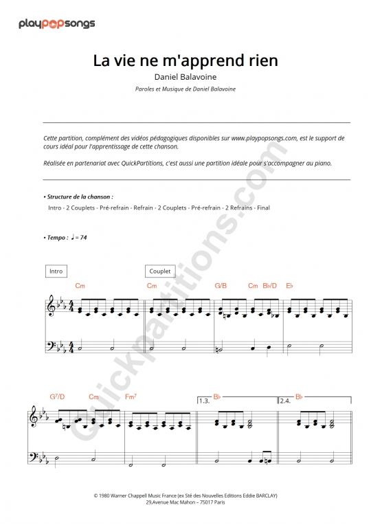 Partition piano La vie ne m'apprend rien - PlayPopSongs