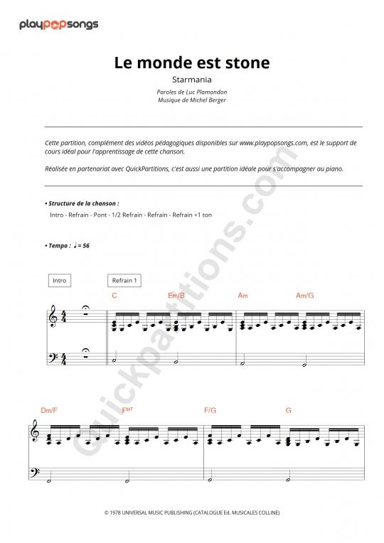 Partition piano Le monde est stone - PlayPopSongs