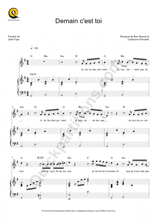 Demain c'est toi Piano Sheet Music - Zaz