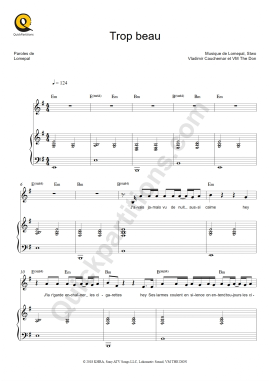 Trop beau Piano Sheet Music - Lomepal