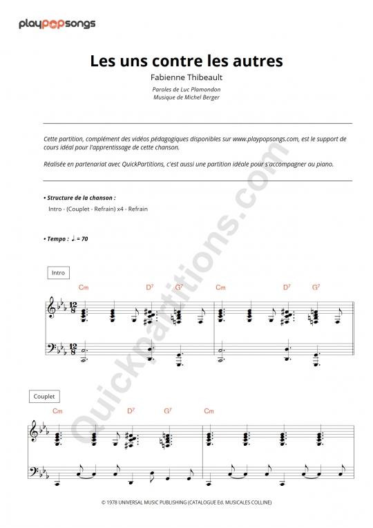 Partition piano Les uns contre les autres - PlayPopSongs