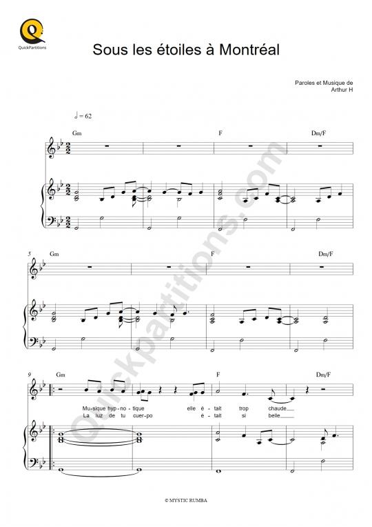 Partition piano Sous les étoiles à Montréal - Arthur H