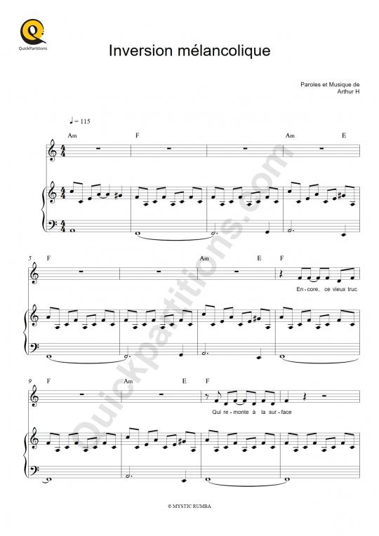 Partition piano Inversion mélancolique - Arthur H