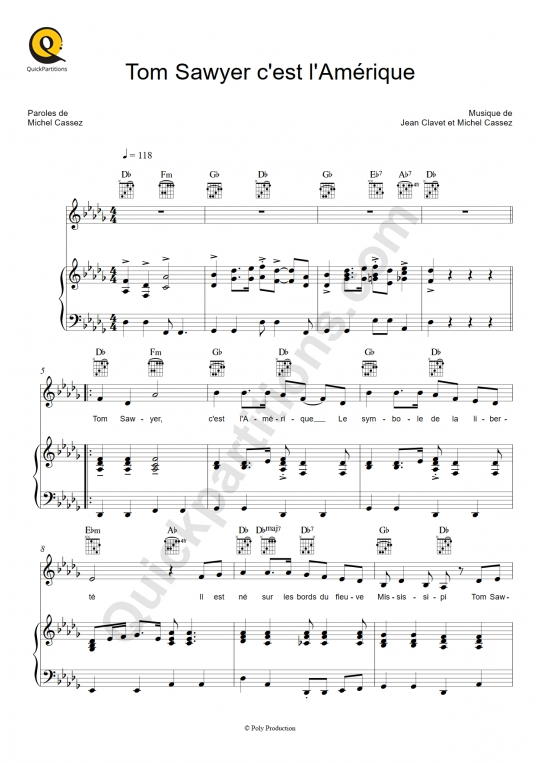 Tom Sawyer c'est l'Amérique Piano Sheet Music - Elfie