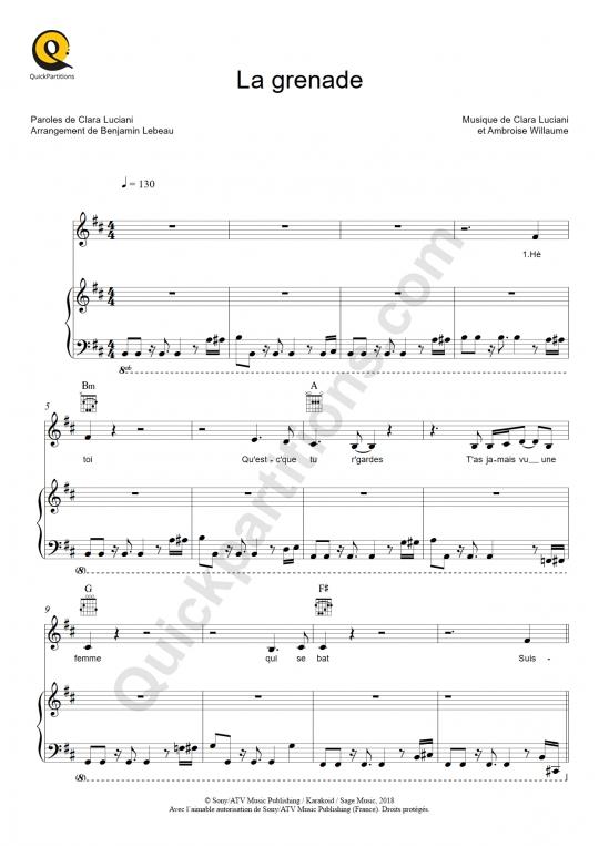 Partition piano La grenade - Clara Luciani