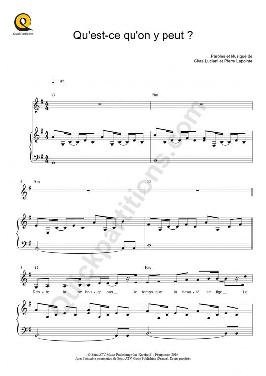 Partition piano Qu'est-ce qu'on y peut ? - Pierre Lapointe