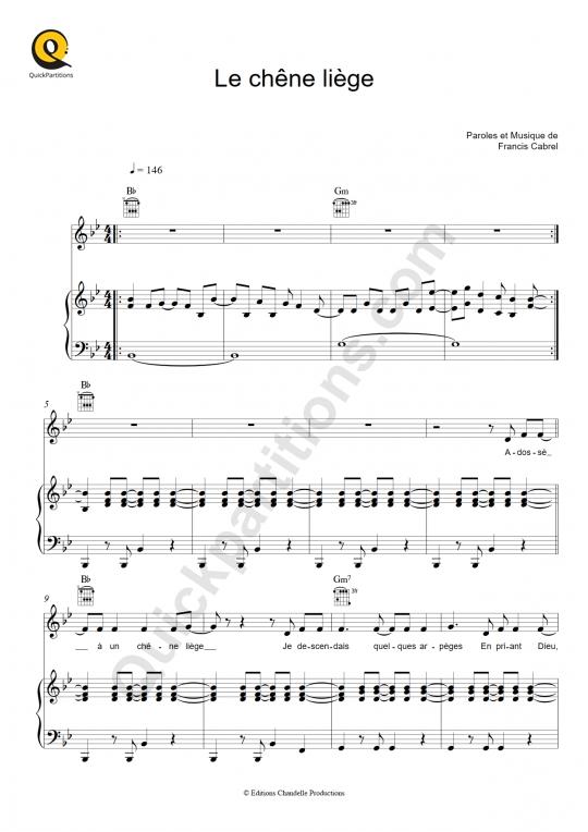 Partition piano Le chêne liège - Francis Cabrel