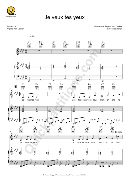 Je veux tes yeux Piano Sheet Music - Angèle