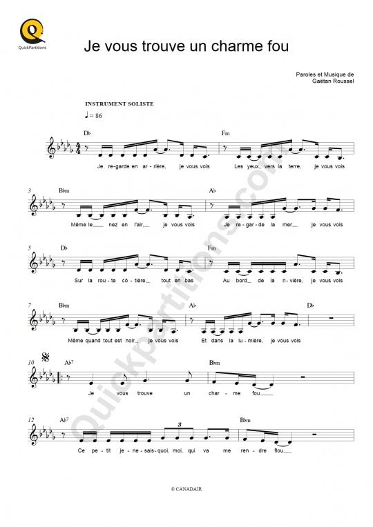 Partition piano Je vous trouve un charme fou - Hoshi