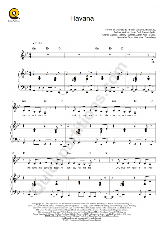 Havana Piano Sheet Music - Camila Cabello