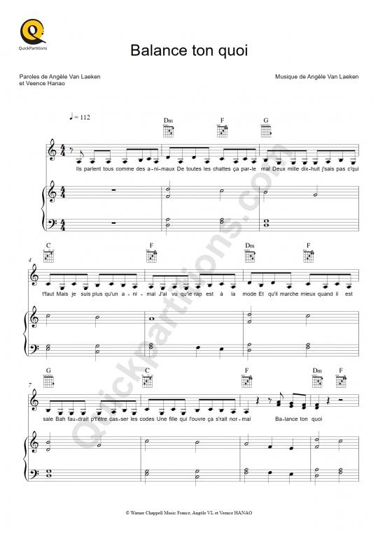 Balance ton quoi Piano Sheet Music - Angèle