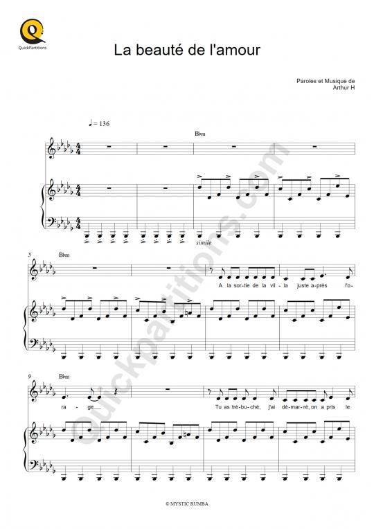 Partition piano La beauté de l'amour - Arthur H
