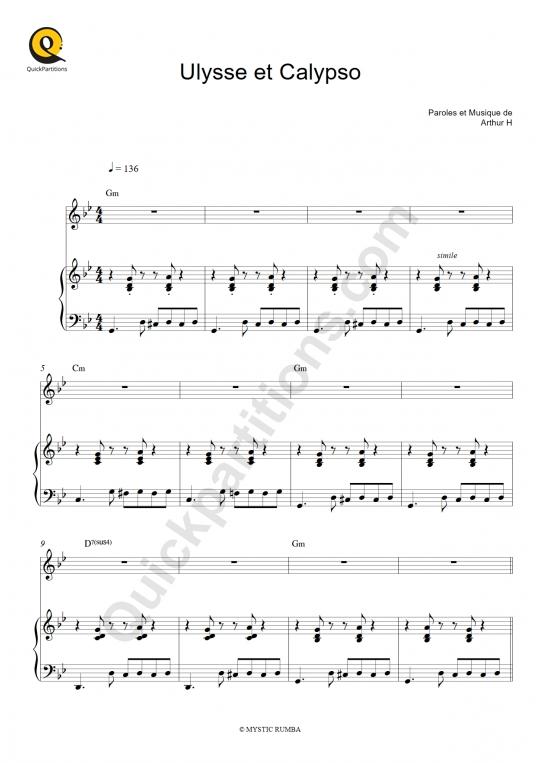 Partition piano Ulysse et Calypso - Arthur H