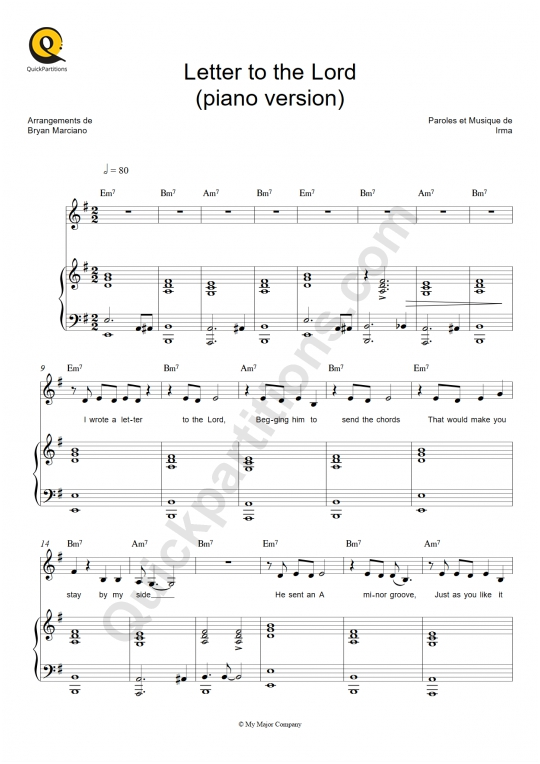 Letter to the Lord (piano version) Piano Sheet Music - Irma