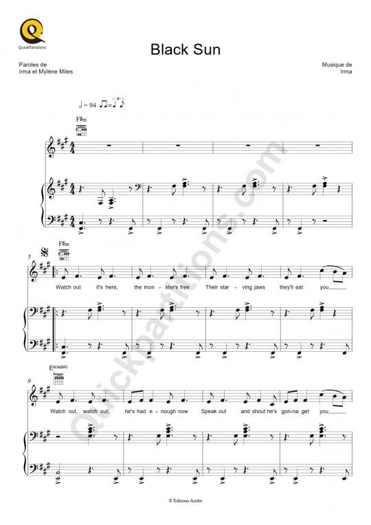 Partition piano Black Sun - Irma
