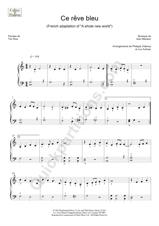 Ce rêve bleu (A whole new world) Piano Sheet Music - Le cahier du pianiste