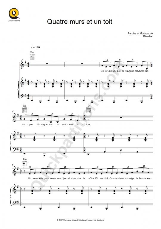 Quatre murs et un toit  Piano Sheet Music - Bénabar