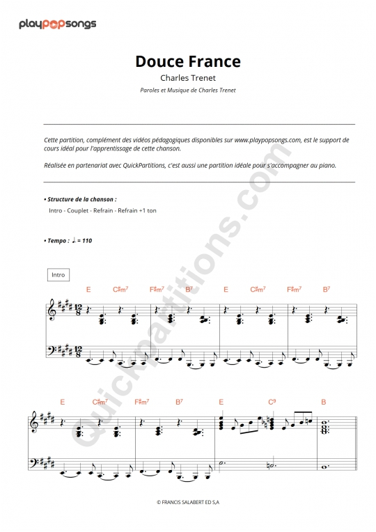 Douce France Piano Sheet Music - PlayPopSongs