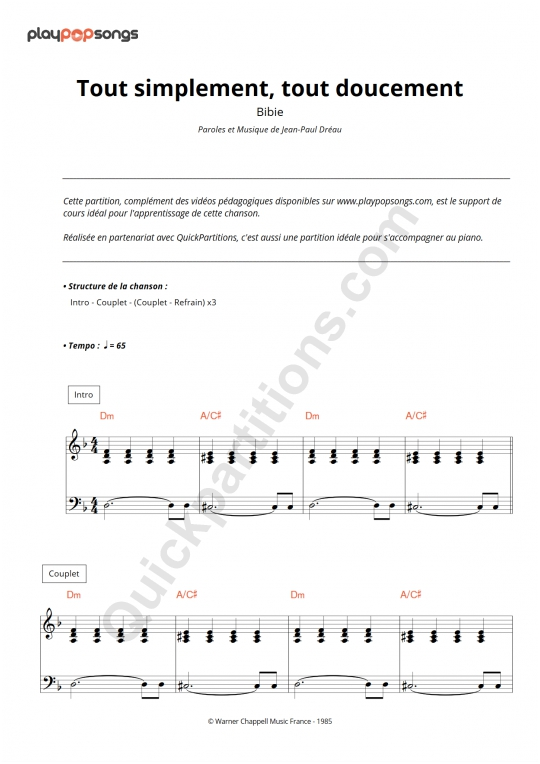 Tout simplement, tout doucement Piano Sheet Music - PlayPopSongs