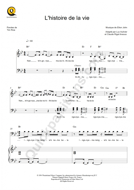 L'histoire de la vie Piano Sheet Music - Le roi lion