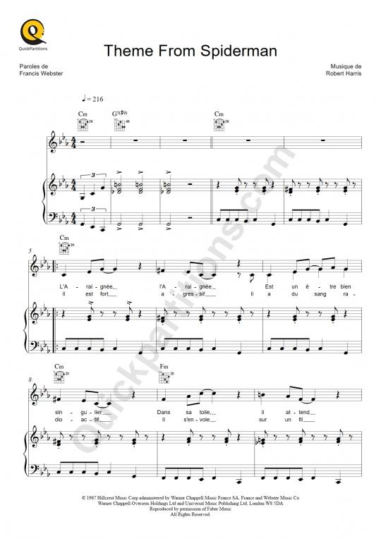 Partition piano Theme from Spiderman - L'Araignée (Série TV)
