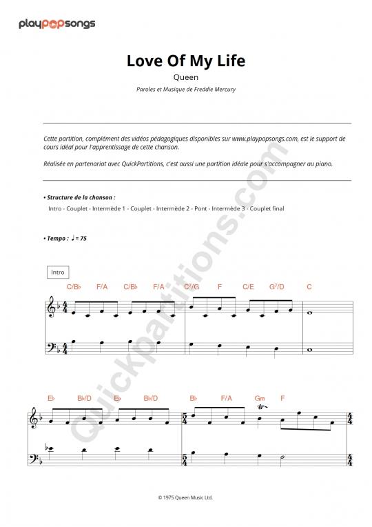 Love Of My Life Piano Sheet Music - PlayPopSongs