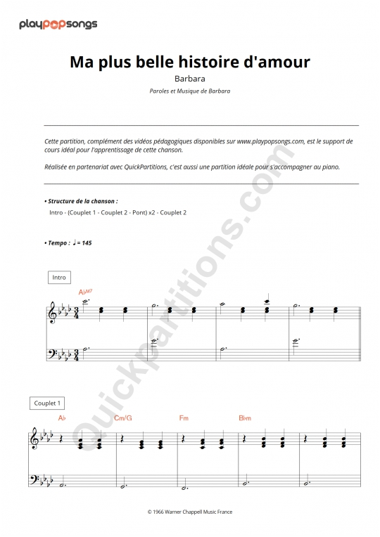 Ma plus belle histoire d'amour Piano Sheet Music - PlayPopSongs