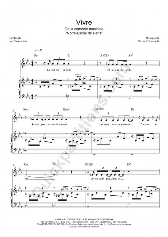 Partition piano Vivre - Notre dame de paris