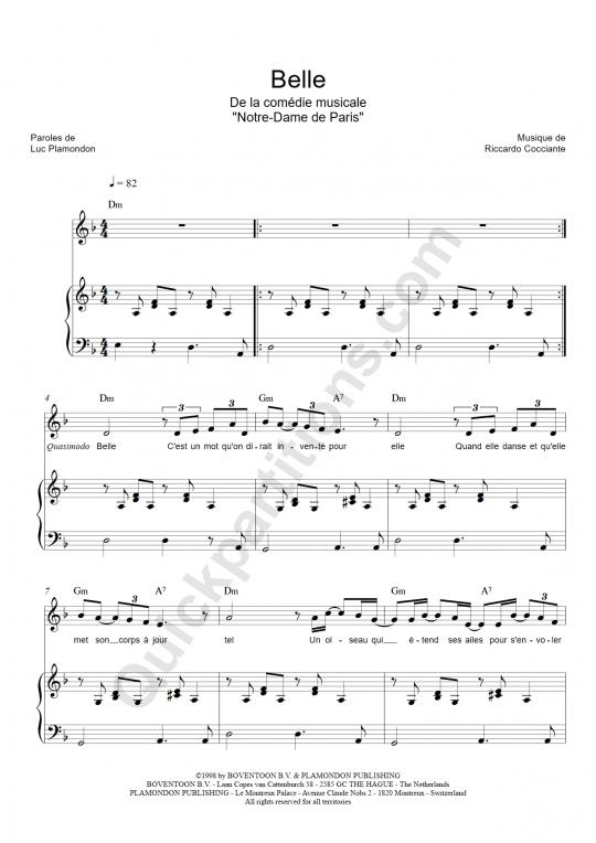 Belle Piano Sheet Music - Notre dame de paris